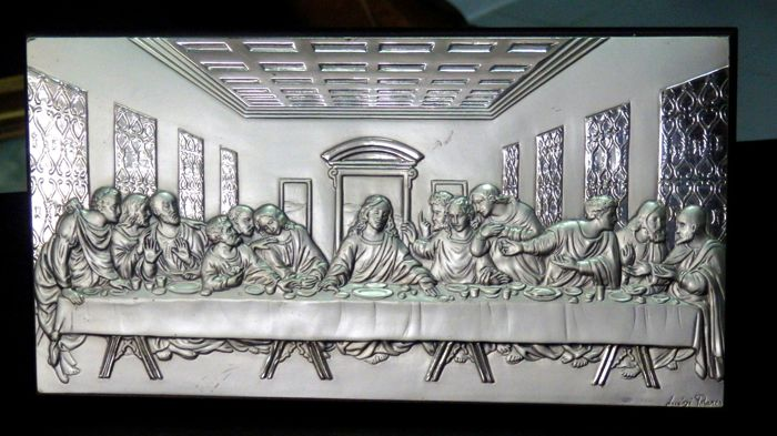 The Last Supper - Bas Relief - .925 silver - by Luigi Pesaresi - Italy - Late 20th century