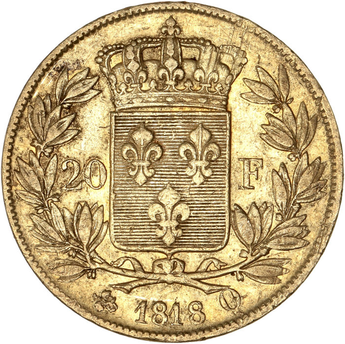 France - 20 Francs 1818-Q Louis XVIII - Or