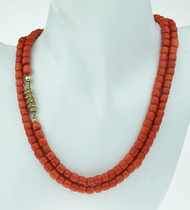 Filgrein slot - 14 kt. Yellow gold - Necklace Blood coral