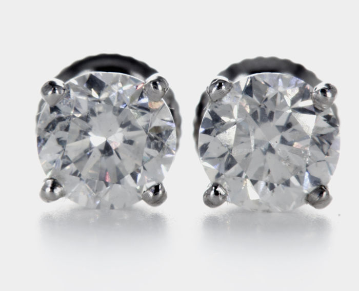 14 kt. White gold - Earrings - 2.11 ct Diamond - No Reserve Price D/SI1