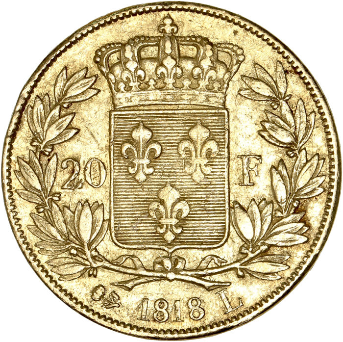 20 Francs  1818-L Louis XVIII - Or