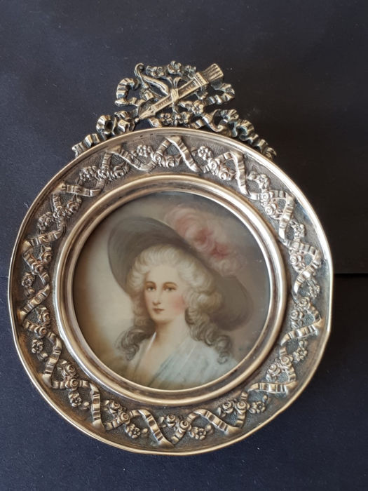 Picture frame, portrait miniature - .800 silver - Germany - Late 19th century