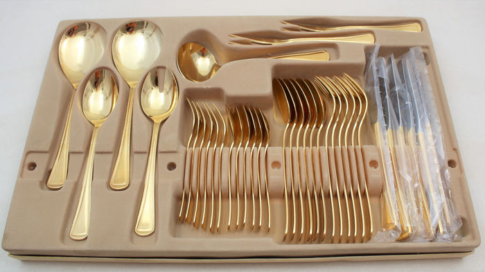 Cutlery, IMPERIAL, Solingen complete for 6 persons (37) - Goldplate