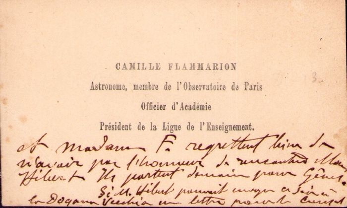 Camille Flammarion  - Autograph; Signed Business Card with note to Postpone Meeting for Departure for Genoa - 1900/1910
