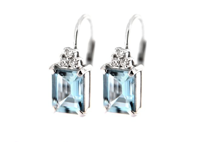 ITITOLI - 18 kt. White gold - Earrings - 2.57 ct Aquamarine - Diamonds