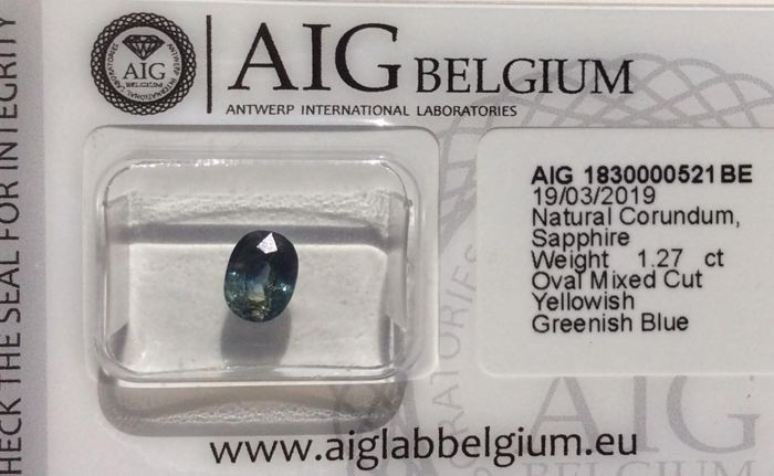 Yellowish Greenish Blue Sapphire - 1.27 ct