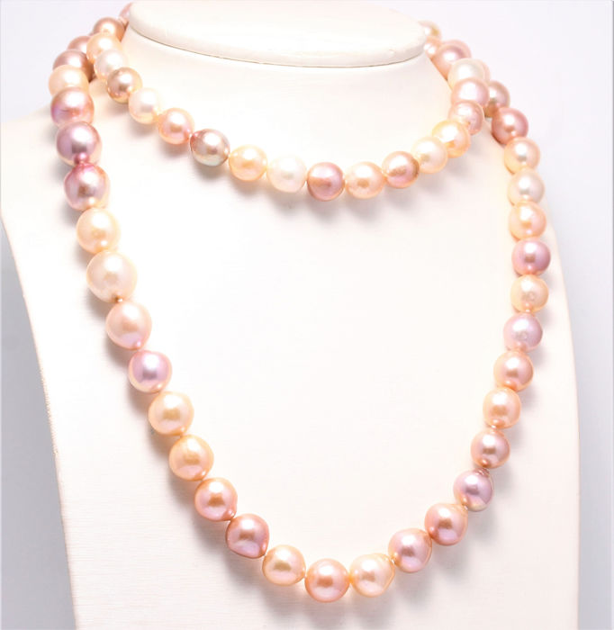 NO RESERVE PRICE - 925 Silver - 10x13mm Freshwater Pearls - Necklace