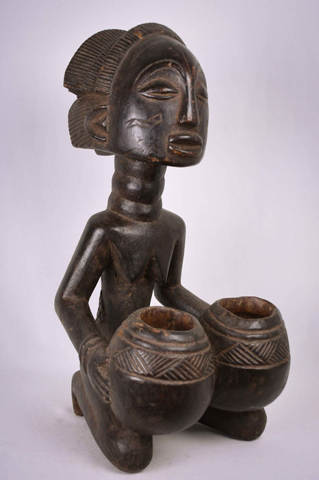 Bowl-barrier Figure - Wood - Mboko - Luba - Congo DRC