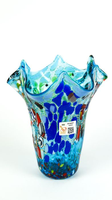Imperio Rossi (Murano) - Vase Aquamarine handkerchief Fantasy murrina - Glass