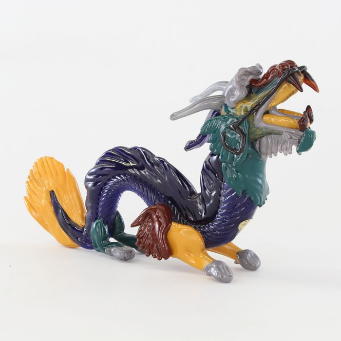 G.Giuman - Multicolored dragon unique and rare murano glass sculpture - original Murano glass