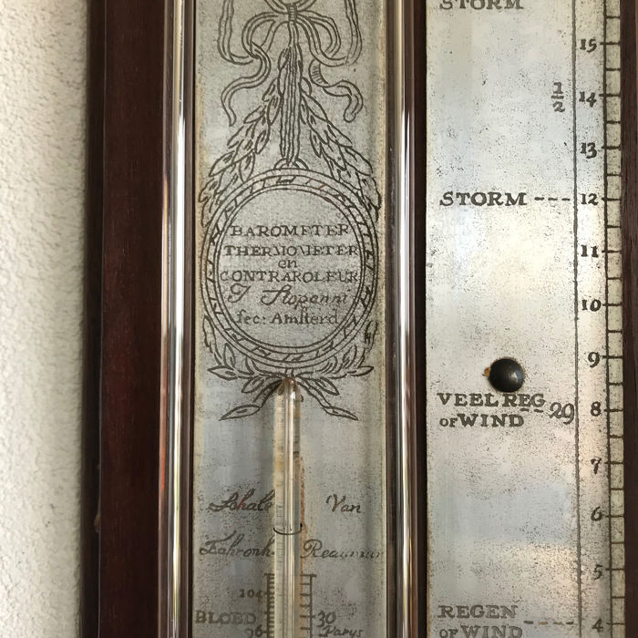 J.Stopanni - Contra bakbarometer with counter-color and thermometer - Mahogany - Early 19th century