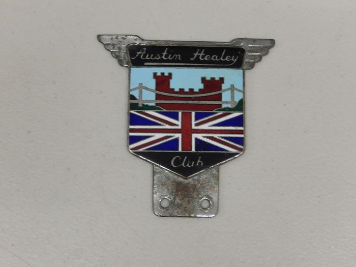 標誌 - Vintage Heavy Enamel Chrome Austin Healey Club Car Badge Auto Emblem - 1960-1970