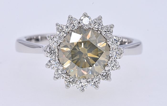 18 kt. White gold - Ring - 2.02 ct IGI Natural Fancy Diamond - Diamonds