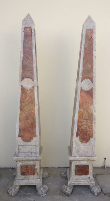 Pair of Large Obelisks - H 190 cm - 2 modules - Cast Stone, Marble, Marble Breccia Oniciata and Rosso Damasco