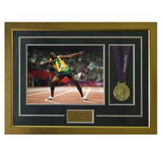 Signed & Framed - Usain Bolt - 2012 - Olympics Photo With Replica Medal