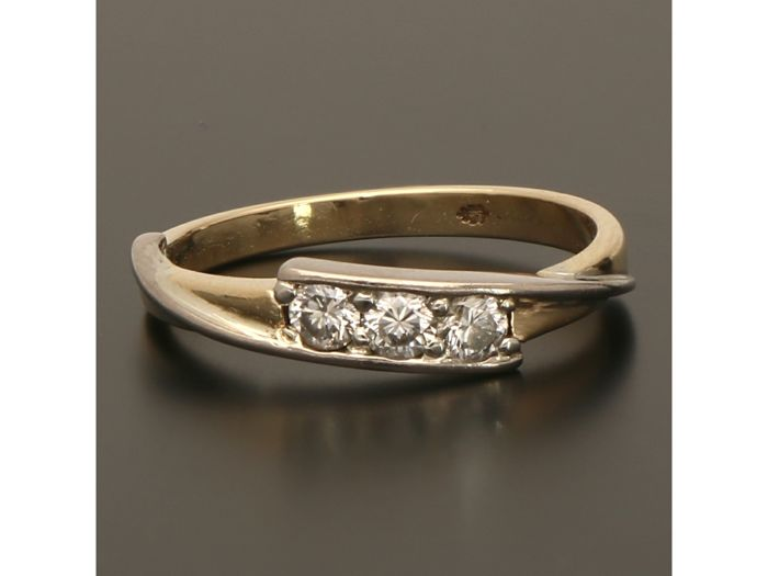 14 kt. Bicolour, Gold - Ring - 0.27 ct Diamond
