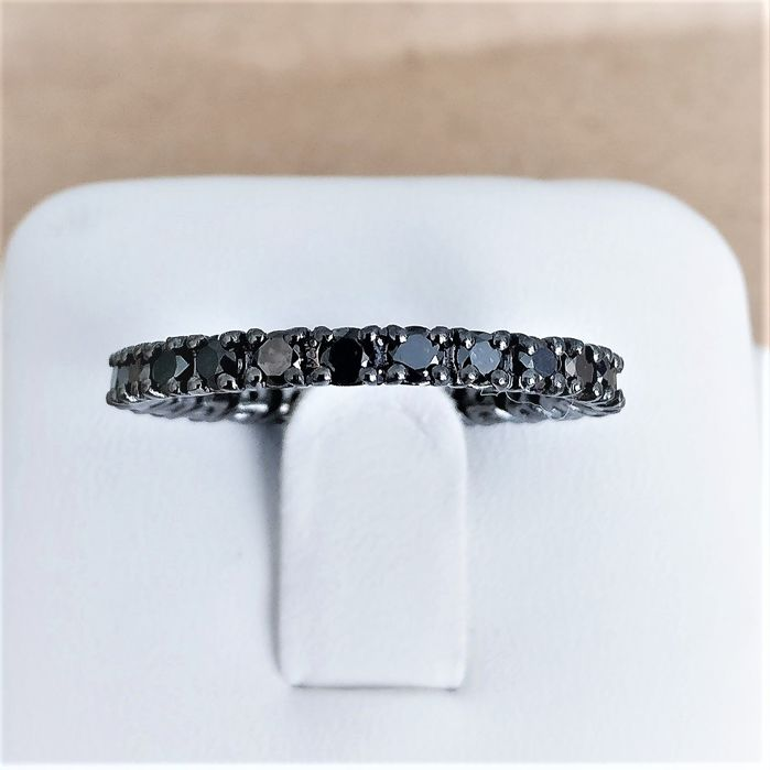 18 kt. White Gold with Black Rhodium - Ring - Colour Treated 1.22 ct Diamond