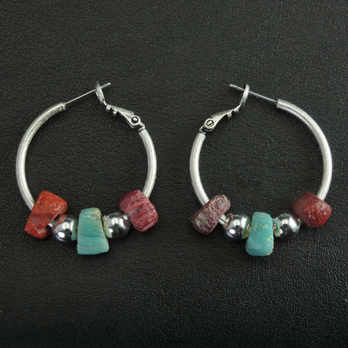 Ancient Roman Glass Modern Earrings with Ancient Roman red and turquoise glass beads - (1)