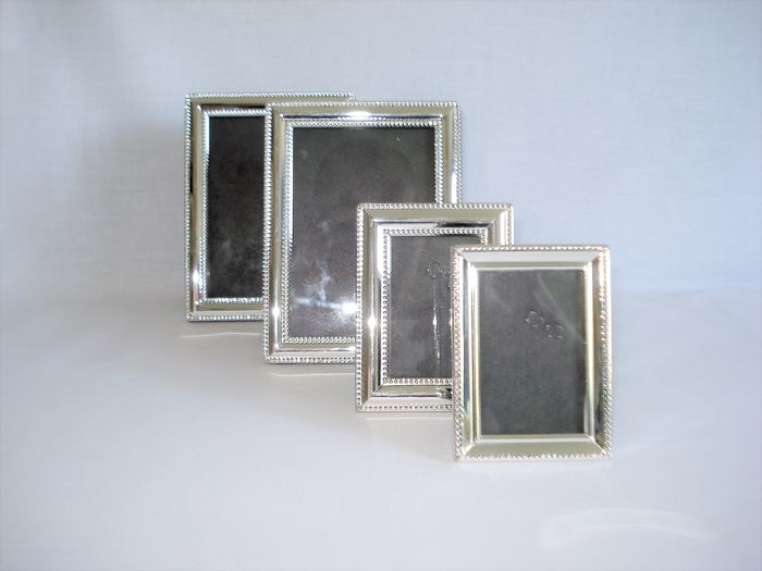 4 photo frames. (4) - Art Deco style - Silverplate
