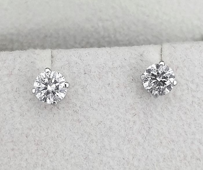 14 kt. White gold - Earrings - Clarity enhanced 1.07 ct Diamond - D/SI1 - NO RESERVE PRICE