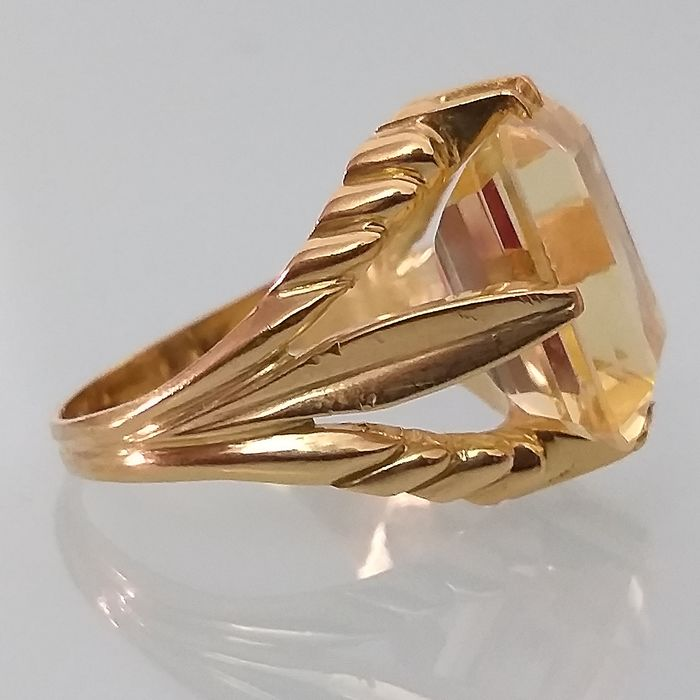 18 quilates Oro - Anillo Citrino