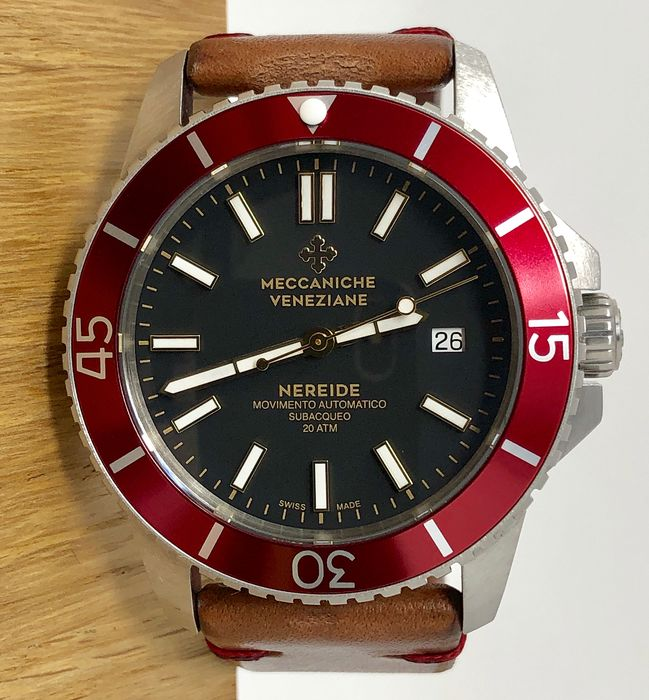 Meccaniche Veneziane - Automatic Diver Watch Nereide 3.0 Rubino Red + Rubber and Steel Strap - 1202003 - Men - BRAND NEW