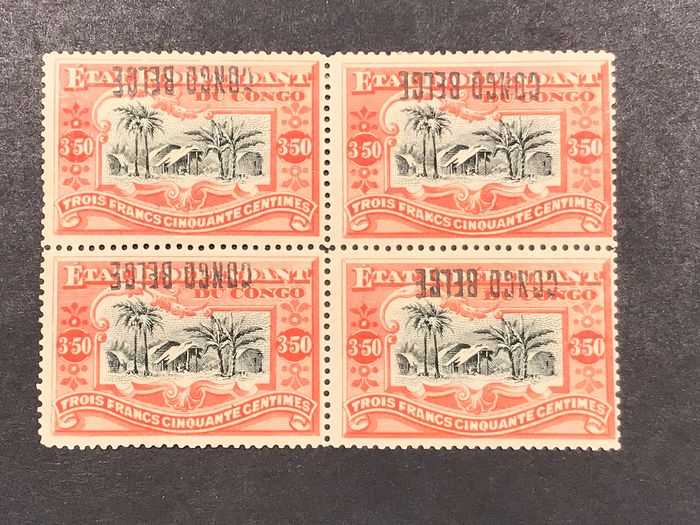 Congo Belga 1889 - Mols issue - 3fr50 orange with local overprint 'Congo Belge' type 1 in a block of four with inverted - OBP / COB 37 L 1 - Cu