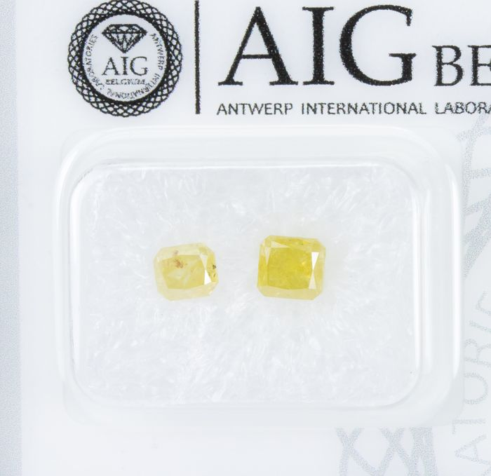 2 pcs Diamanten - 1.11 ct - Fancy INTENSE Yellow  - I3  *NO RESERVE*