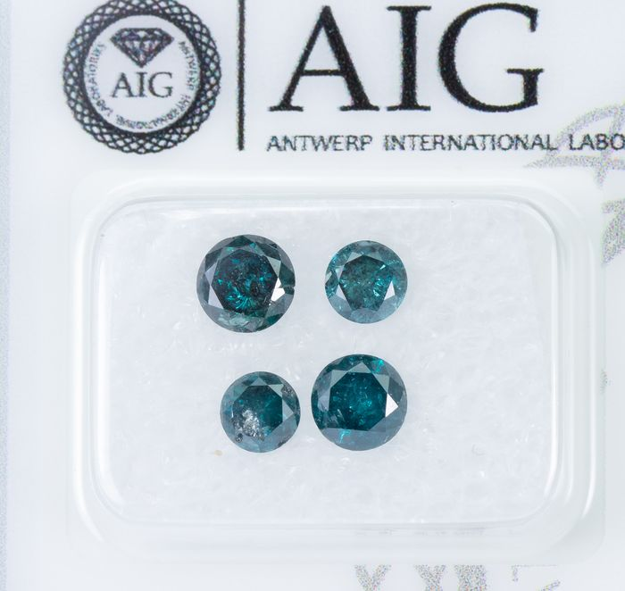 4 pcs Diamonds - 1.52 ct - Fancy DEEP Bluish Green - I3  *NO RESERVE*