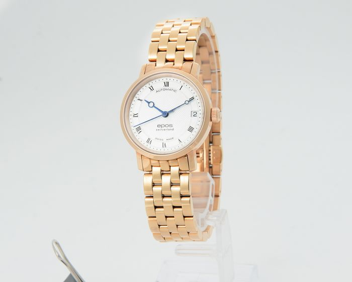 Epos - Ladies automatic watch with rose PVD - 4387-S/S-RG-WHT/BLU - Women - 2011-present