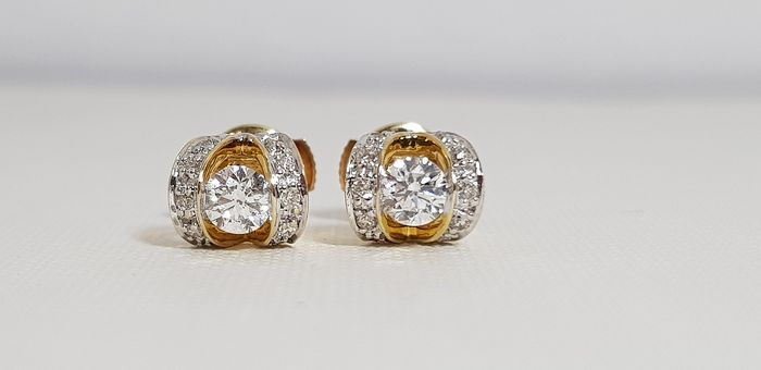 18 kt. Yellow gold - Earrings - 0.40 ct Diamond - Diamonds