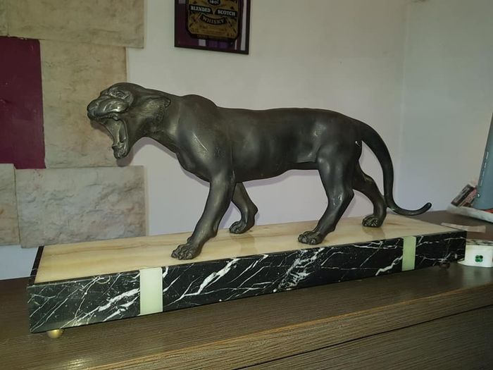 Sculpture, black Panther - Art Deco - Spelter - it. 1920/1930