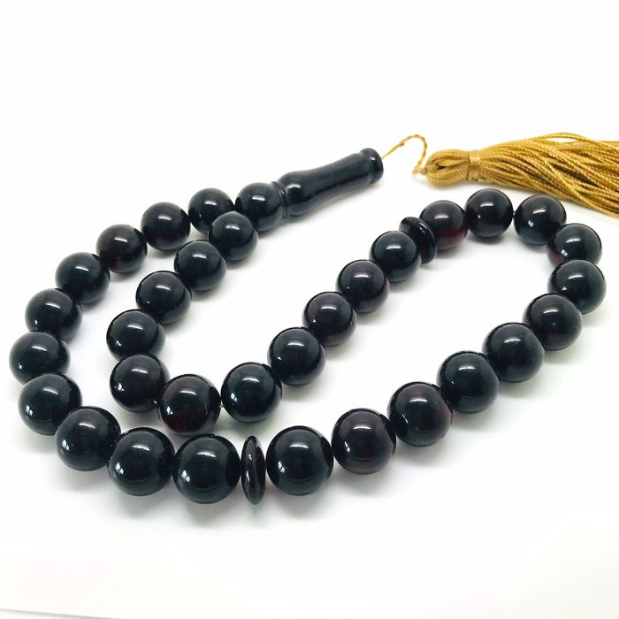 Rosary, misbaha tesbih of 33 prayer beads 14mm  - Amber