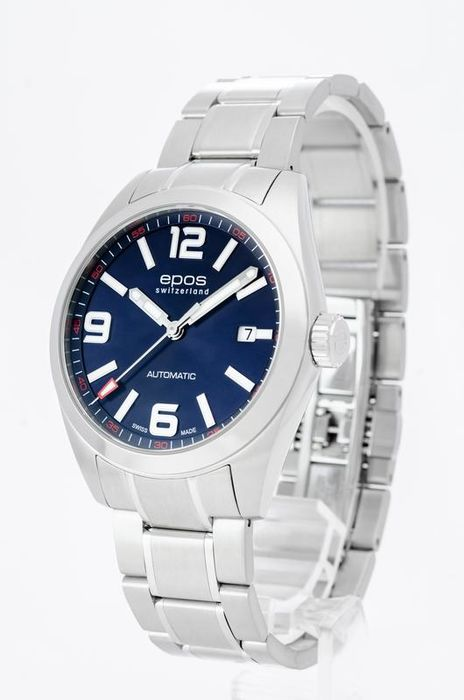 Epos - Men's blue dial automatic watch - 3411-S/S-BLU-ARAB - Herren - 2011-heute