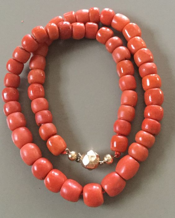 Bloedkoralen  - 14 kt. Yellow gold - Necklace blood coral