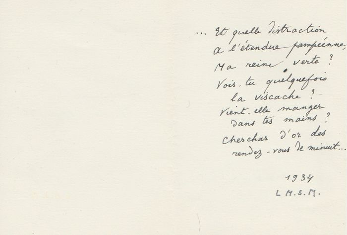René Char - Autograph; Signed poem addressed to his lover - 1934