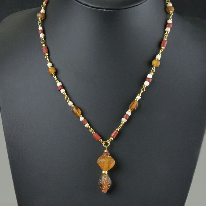 Ancient Roman Glass Necklace with red and amber colour glass beads - (1)