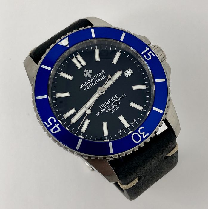 Meccaniche Veneziane - Automatic Diver Watch Nereide 3.0 Ardesia Black with Blue Bezel - 1202004 - Homem - BRAND NEW