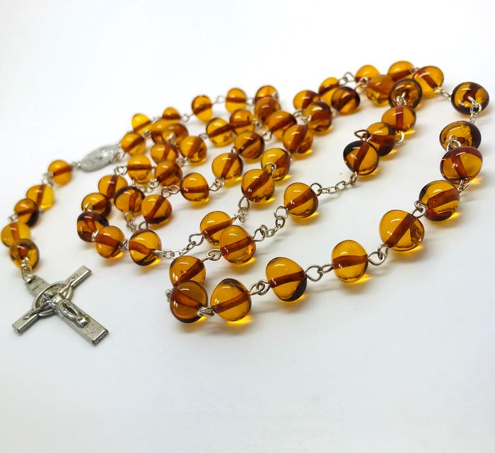 Cross, Rosary - Amber