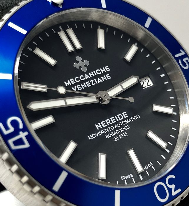 Meccaniche Veneziane - Automatic Diver Watch Nereide 3.0 Ardesia Black with Blue Bezel + EXTRA Rubber Strap - 1202004 - Men - BRAND NEW