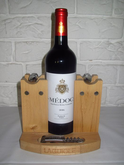 Laquiole wine station, with wine stoppers, opener and thermometer - Wood, metal
