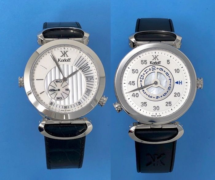 "Korloff - Reversible Watch Voyager Silver ""NO RESERVE PRICE"" - MT3ZW - Unisex - BRAND NEW"