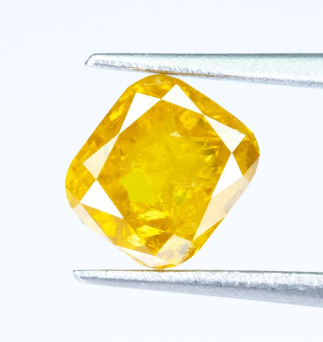 Diamond - 0.84 ct - Natural Fancy INTENSE Yellow - I3  *NO RESERVE*