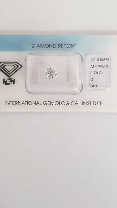 1 pcs Diamond - 0.78 ct - Brilliant - D (colourless) - SI1