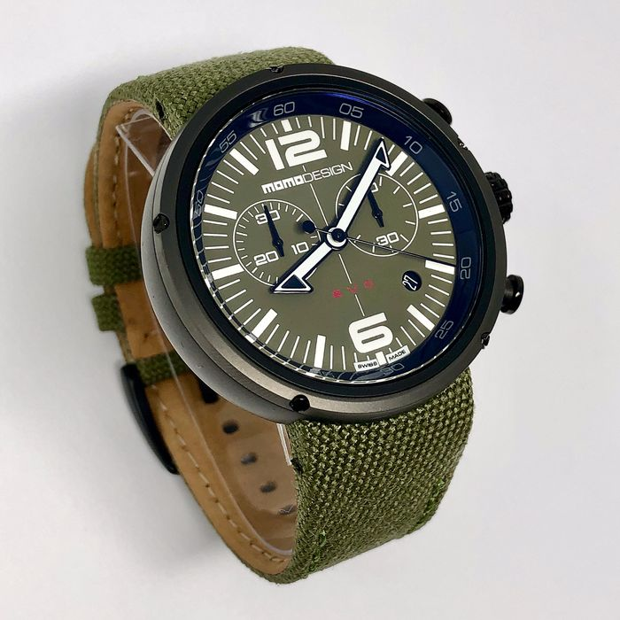 MomoDesign - Watch EVO Chrono Black PVD - Green  - MD1012BR-43 - Men - BRAND NEW