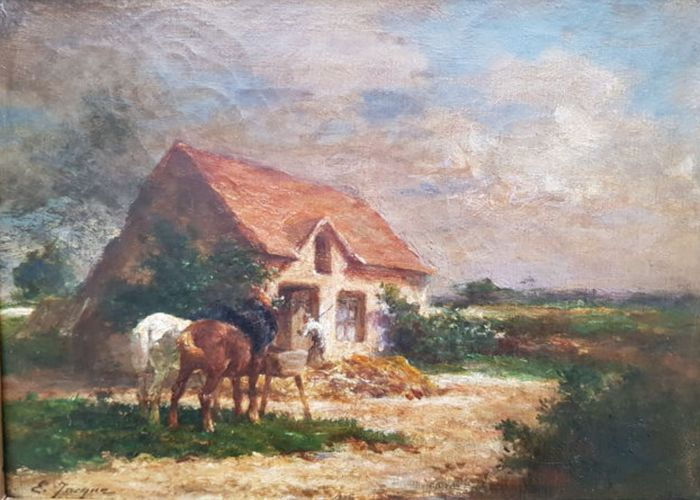 Emile Jacque (1848-1912) (Attributed) - Horses watering before a cottage