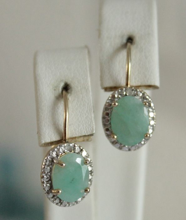 925 Silver - Earrings - 2.00 ct Emerald - Diamond