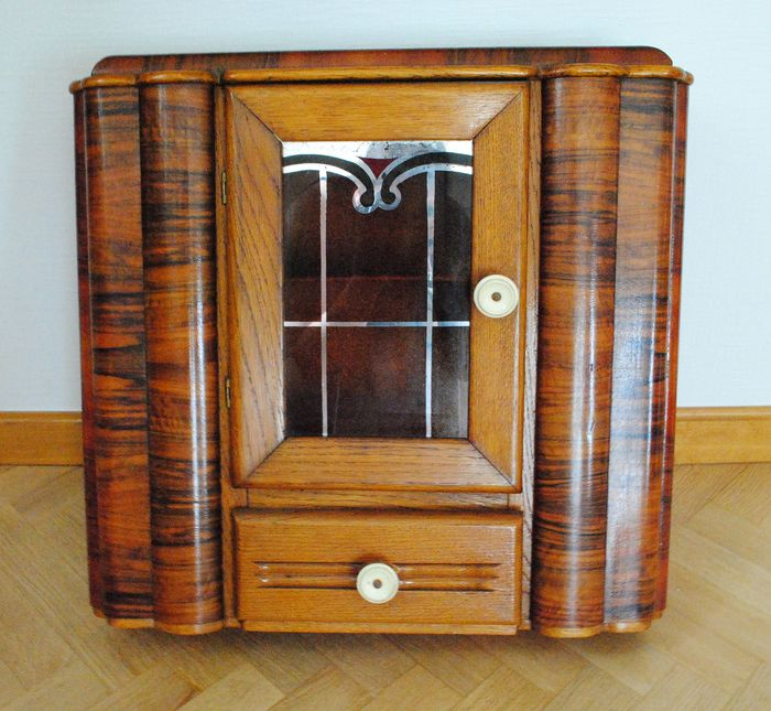 Unique Art Deco shaving/Medicine cabinet - Wood, Oak