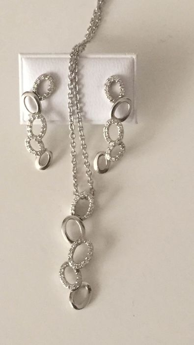 18 kt. White gold - Earrings, Necklace with pendant Diamond - Diamonds