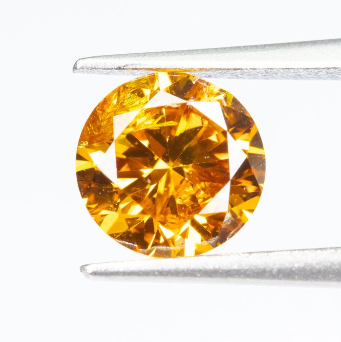 Diamante - 0.52 ct - Fantasía natural VIVID naranja-amarillo - I1  *NO RESERVE*